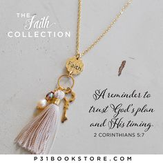 Sometimes trusting God's plan, and His timing, is hard. But as you wear this necklace from The Faith Collection, let it be a reminder to always have faith in God and His promises. http://www.p31bookstore.com/products/faith-necklace