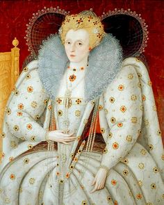 Queen Elizabeth, c.1592. After Marcus Gheeraerts the Younger. Government Art Collection, UK.   Queen Elizabeth I (1533–1603) Queen regnant of England & Ireland from 1558 until her death. Sometimes called The Virgin Queen, Gloriana, or Good Queen Bess, Elizabeth was the fifth and last monarch of the Tudor dynasty.