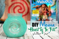 DIY Moana Heart of Te Fiti Glitter Jar using Adhesive Vinyl Stencil made with Cutting Machine