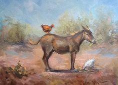 "Contemporary Landscape Artists International: Original Equine Landscape Painting Horse Art ""Henpecked"" by Texas Contemporary Fine Artist Lun..."
