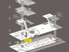 Alguns exemplos de mapas (também classificado como um tipo de infográfico) usados na orientação euso de espaços, normalmente como complemento dos projetos de sinalização. Alguns são mais realistas…