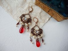 Red Earrings in Vintage Style Pearl Jewelry Bohemian by mdmButiik