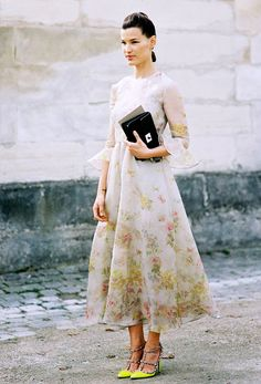 Floral print dress worn with neon stilettos