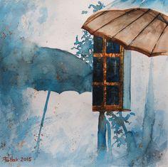 Suny day, watercolor, 40x40 cm