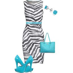 A fashion look from September 2012 featuring slimming dresses, turquoise platform shoes and white gold stud earrings. Browse and shop related looks.