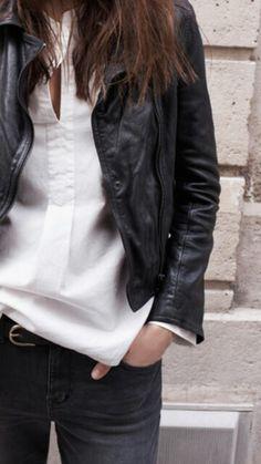 White shirt, black leather jacket
