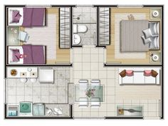 Layouts Casa, House Layouts, Apartment Plans, Apartment Design, 2 Bedroom House Plans, Small Craft Rooms, Model House Plan, Floor Plan Layout, Small House Design
