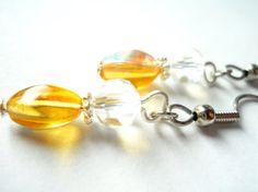 Golden Yellow Earrings Crystal Earrings Sun by chicagolandia, $13.00