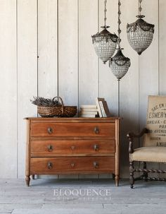 ELOQUENCE® Antique Commode Antique Louis XVI three drawer French walnut chest. Lovely classic lines and elegant shape.  Circa: 1790