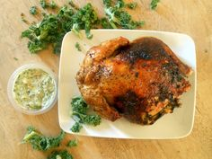 A beautiful and simple family supper recipe. Spinach Dip Stuffed Chicken is an herb-rubbed roasted chicken with light spinach dip stuffed under the skin. Roasted Chicken, Tandoori Chicken, Supper Recipes, Gluten Free Chicken, Roasting Pan, Spinach, Stuffed Chicken, Turkey, Bacon