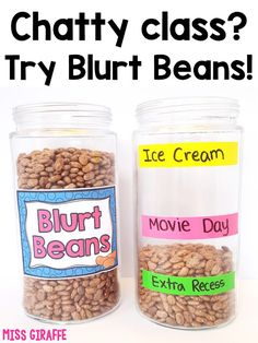 Blurt beans will save your sanity! Complete directions for how to implement this positive behavior management system in your class tomorrow! grundschule 25 Chatty Class Classroom Management Strategies for Overly Talkative Students Positive Behavior Management, Behavior Management System, Classroom Management Strategies, Preschool Behavior Management, Kindergarten Classroom Management, Management Tips, Behavior Plans, Writing Strategies, Positive Behavior Chart