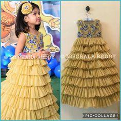 Frocks For Girls, Little Girl Dresses, Girls Dresses, Kids Dress Wear, Kids Gown, Baby Girl Fashion, Kids Fashion, Kids Party Wear, Kids Blouse Designs