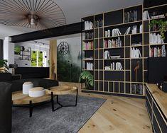 Salon - drewno, stal, miedź, antracyt, fototapeta, ukryte drzwi #kadawnetrza #projekt #salon #stal #antracyt #drewno #drewnowdomu #stylindustrialny #livingroom #livingroomdesign #design #interior #interiordesign #newproject #project #interiordesigner #projektowaniewnetrz #lubuskie #miedzyrzecz #kadawnętrza #wood #antracite #decor #decorhome #fototapeta #asilo #drzwiukryte Bookshelves, Shelving, Interior, Design, Home Decor, Industrial Furniture, Living Room, Shelves, Bookcases