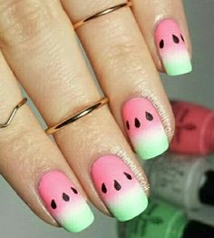 45 Glam Ideen für Ombre Nails Plus Tutorial Nail Art Watermelon Nail Designs, Watermelon Nail Art, Fruit Nail Art, Fruit Nail Designs, Cute Acrylic Nails, Cute Nails, Pretty Nails, Ombre Nail Designs, Best Nail Art Designs