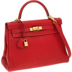 Hermes 32cm Rouge Vif Togo Leather Retourne Kelly Bag with | Lot #56180 | Heritage Auctions