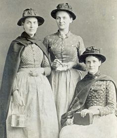 """1892 The Army opens its first """"Slum Post"""" to fight poverty in Chicago.  Pictured: First Chicago Slum Sisters."""