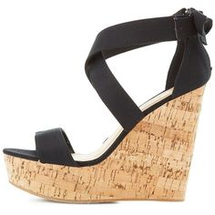 4eed0347e850 Bamboo Strappy Cork Wedge Sandals ( 26) ❤ liked on Polyvore featuring shoes