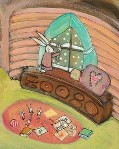 bunnies on ice illustration johanna wright