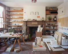 I love this kind of room where you can feel the creativity and work.  Seth Kinmont studio  New York, New York