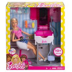 Barbie doll will leave this salon looking good and feeling great! Barbie Doll Set, Barbie Sets, Play Barbie, Pink Shelves, Salon Stations, Big Night Out, White Sink, Beautiful Stories, Barbie Collection