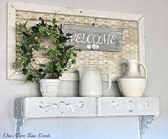Farm White Ceramics and Upcycled Drawer Shelves