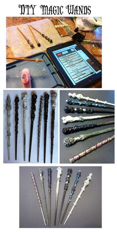DIY Magic Wands - Supplies - Glue gun, sparkly nail polish. Dollar Store supplies - chop sticks, beads, marbles and acrylic paint set. Add texture to chop sticks by gluing beads, marbles and glue gun. Paint with acrylics. Add flair with nail polish. It's that Easy!!!