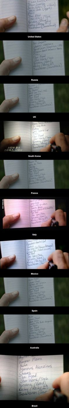 Captain America's notebook: The list of things he missed while frozen was different in different countries. NOTICE THAT THE TOP THING ON THE UK ONE IS SHERLOCK!!!!!