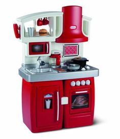 Little Tikes Cook 'n Grow Kitchen features a real working oven, refrigerator, and microwave doors plus electronic cooking sounds.  What a great way to teach kids how to cook.