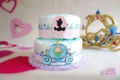 Torta di pannolini Cenerentola! 2 piani (45 pannolini Pampers Baby Dry tg.3) www.facebook.com/AuguriDiversi