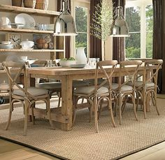 Rustic Farmhouse Table with breadboard extensions
