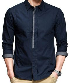 Navy Blue Casual Cotton Shirt with Design Collar - Mens Shirts Casual - Ideas of Mens Shirts Casual - Navy Blue Casual Cotton Shirt with Design Collar Mens Fashion Suits, Men's Fashion, Fashion Design, Mens Kurta Designs, Mens Designer Shirts, Formal Shirts For Men, Mens Clothing Styles, Shirt Style, Long Sleeve Shirts