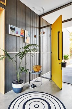 We will be looking into exterior door design ideas, after all, they're the welcoming point to your home. Get going and check the exterior door design that. Entrance Decor, Entrance Design, House Entrance, Entryway Decor, Yellow Home Decor, Grey Home Decor, Yellow Interior, Modern Decor, Home Door Design