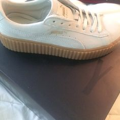 Rihanna Creepers White creepers/oatmeal bottom. Never worn, size 8 Puma Shoes