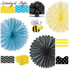 turquoise blue black yellow polka dot classroom decor by Schoolgirl Style Classroom Decor www.schoolgirlstyle.com