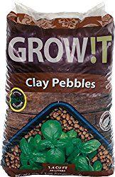 Hydrofarm GROW!t GMC40l Clay Pebbles, 4mm-16mm, 40 Liters