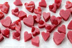 Easy and simple recipe for making homemade strawberry raspberry gelatin hearts using fresh fruits and unflavored gelatin.