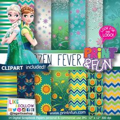Frozen Fever Elsa & Anna Digital Paper Patterns - Digital Papers and more!