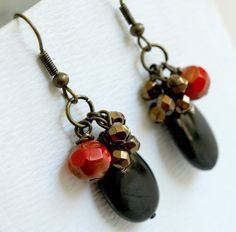 Red and Golden Black Cluster EarringsJet Black and by SaraBernhart, $17.00