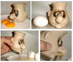 This is just too gross and hilarious to be ignored. An egg separator with a...uhm... unique design.