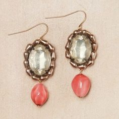 Rhinestone And Coral Earrings, $45, now featured on Fab, by Jill Schwartz