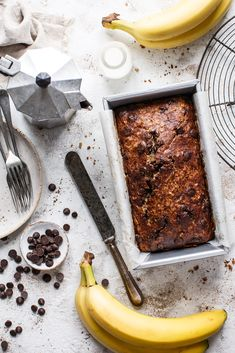 The best thing about my Banana, Chocolate Chip and Walnut Loaf is that you can eat it for breakfast with nut butter Healthy Cake Recipes, Baking Recipes, Delicious Desserts, Bread And Butter Pudding, Nut Butter, Easy Loaf Cake Recipe, Rustic Food Photography, Protein Cake, Banana Chips