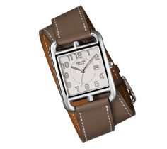 """Hermes-Cape Cod-  """"Large watch, Swiss quartz movement, steel case (29 mm x 29 mm), white dial, short double-loop strap in smooth étoupe calfskin"""""""