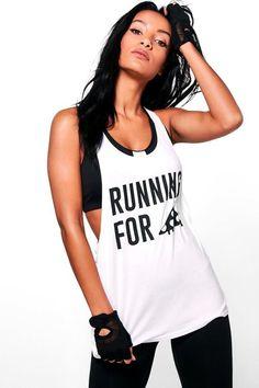 2ba24b3e6161c boohoo Katie Pizza Slogan Running Vest Pizza Slogans