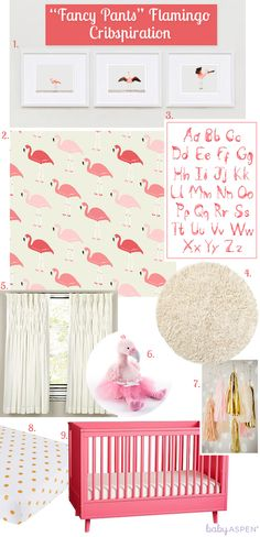 Flamingos are trending this Spring and Summer, and incorporating them into a girly space is a fun spin on a traditional pink nursery. Mix polka dots, flamingo prints, and soft ivory accents with lots of texture to create a great space for your baby girl to grow.