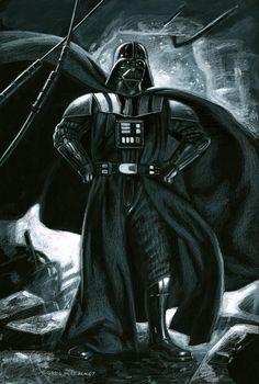 Darth Vader by Greg Hildebrandt Vader Helmet, Science Art, Science Fiction, Dark Lord, The Villain, Comic Artist, All Art, Original Art, Art Gallery