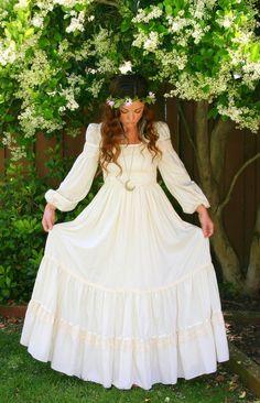 vintage white cotton empire waist maxi dress hippie bohemian hippy long wedding dress puff. Black Bedroom Furniture Sets. Home Design Ideas