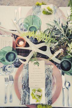 Woodland fairytale wedding - Gideon photography - Table scape / setting - Entertaining - Pastel colors