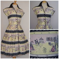 1950s Novelty Print Dress / Victorian Street Scenes Stripes