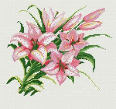 This Pin was discovered by Jua Funny Cross Stitch Patterns, Embroidery Patterns Free, Cross Stitch Designs, Cross Stitching, Cross Stitch Embroidery, Lilly Flower, Flower Coloring Pages, Cross Stitch Flowers, Christmas Cross
