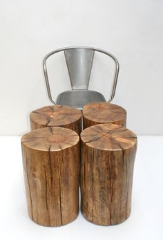 Tree Stump Seating Table Stool Trunk Nest Group by realwoodworks1